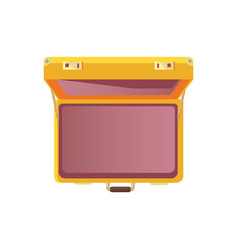open suitcase empty bag top view icon vector image