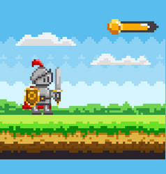 Pixel-game character pixelated natural landscape vector