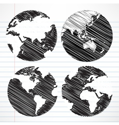 Planet earth hand writing world map vector