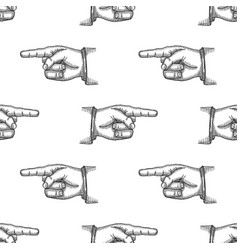 pointing finger vintage engraved seamless pattern vector image