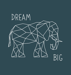 Polygonal elephant print with lettering vector