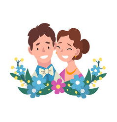 Portrait bride and groom standing behind a vector