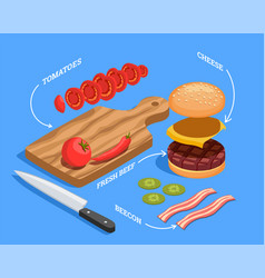 Preparing cheeseburger isometric composition vector