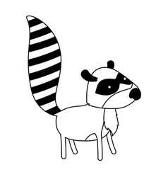 raccoon cartoon black silhouette in white vector image