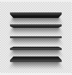 Realistic black wall shelf collection on checkered vector