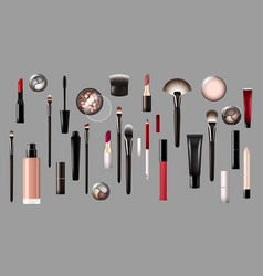 Realistic makeup products collection vector