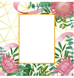 Romantic template with protea and greenery on vector