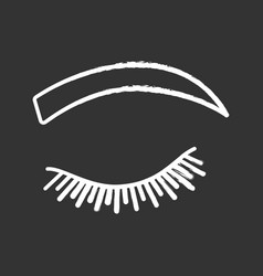 Rounded eyebrow shape chalk icon vector
