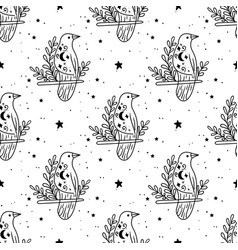 seamless pattern mystical raven with moon and vector image