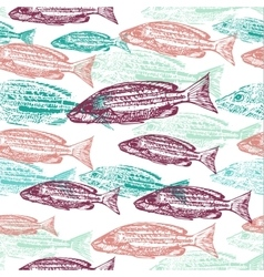 seamless pattern with print of fish on vector image