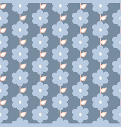 Seamless repeat pattern stylized blue flowers vector