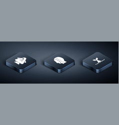 Set isometric fish whale tail in ocean wave vector