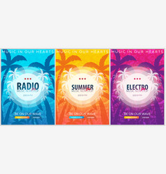 set of beautiful flyers for summer party radio vector image