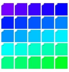 Set of colorful labels with folded corner vector