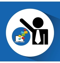 Silhouette man with email computer sending vector