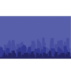 Silhouette of big city at the night vector