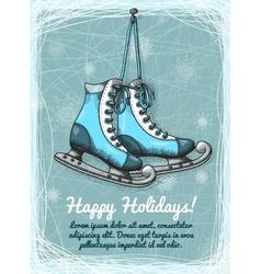 Skate holidays winter invitation vector