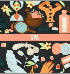 spa center poster with text and items for vector image