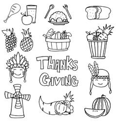 Stock collection thanksgiving on doodles vector image