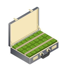 Suitcase with money Isometric Case with cash vector image