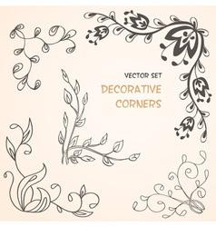 Summer floral decorative corners vector