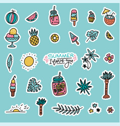 summer set design elements tropical leaves vector image