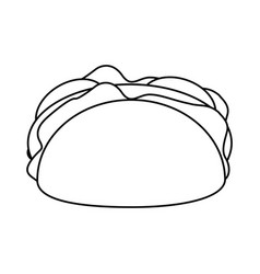 Taco mexican food thin line vector