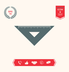 The ruler triangle icon vector