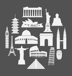 Travel landmarks icon set in paper style vector