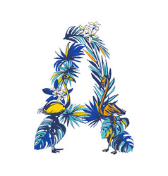 tropical floral summer letter a hand drawn vector image