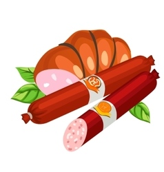 Two types of delicious sausage food vector image