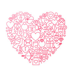 Valentine day line icon heart design vector