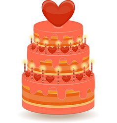 Valentines Cake on White Background vector image