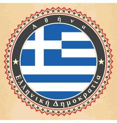 Vintage label cards of Greece flag vector image