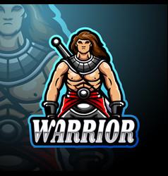 warrior esport logo mascot design vector image