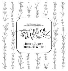 Wedding invitation with blossom lavender bridal vector