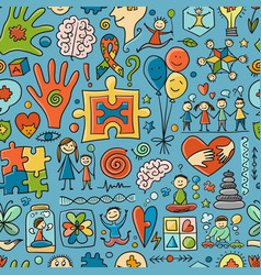 World autism awareness day colorful puzzle design vector