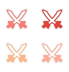 Assembly sticker bright crossed swords on a white vector