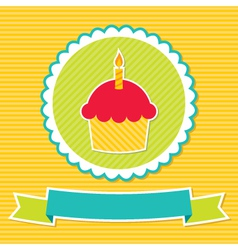 Birthday cupcake card vector image vector image