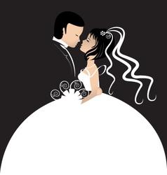 Bride and groom invitation card vector