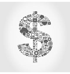 Computer dollar vector image