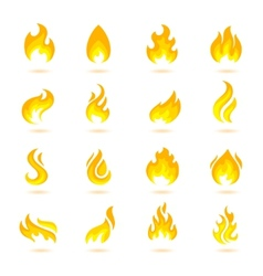 Fire Flames Icons vector image vector image