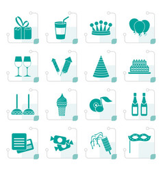stylized birthday and party icons vector image vector image