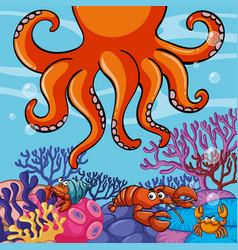 underwater scene with giant octopus and crabs vector image