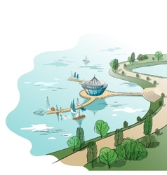 colored linear landscape with quay and boats vector image vector image