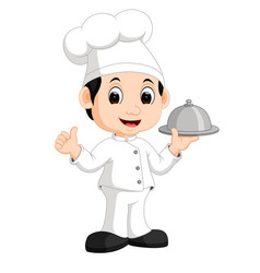 cute little chef bringing the dishes vector image