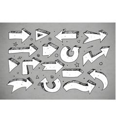 doodle sketch arrows on grey background vector image vector image