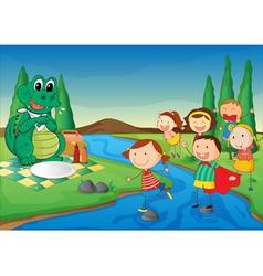 kids and crocodile at picnic vector image vector image