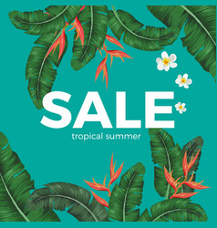 sale tropical summer poster with green leaves and vector image vector image