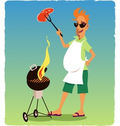 Barbecuing guy vector image vector image